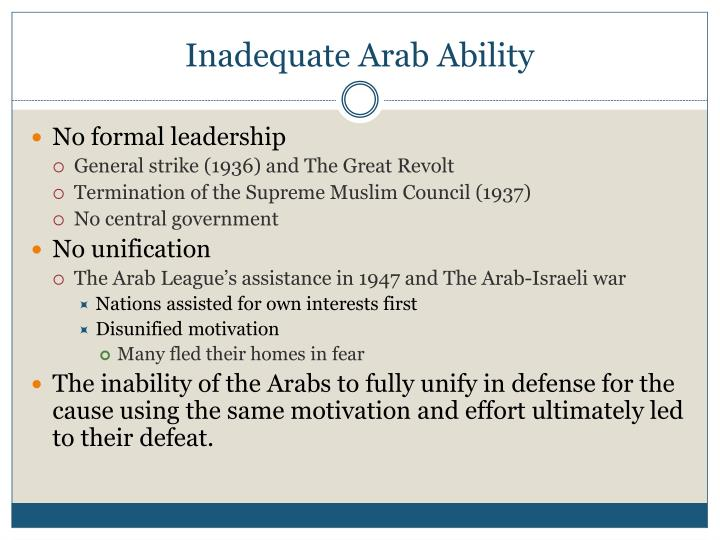 Inadequate Arab Ability