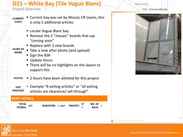 D23 white bay tile vogue blanc