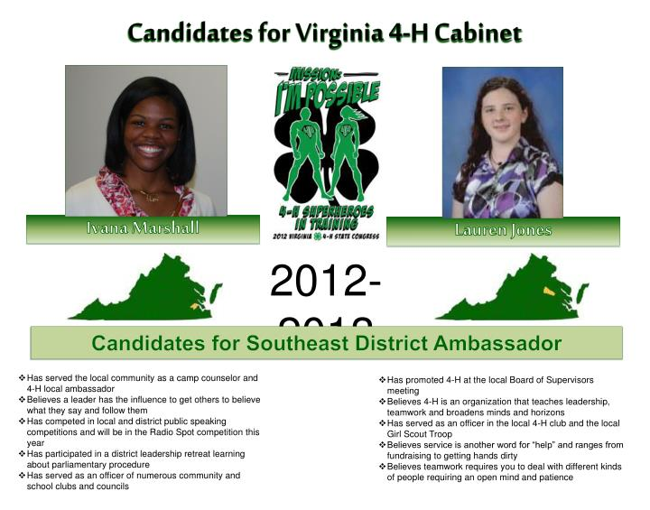 Candidates for Virginia 4-H Cabinet