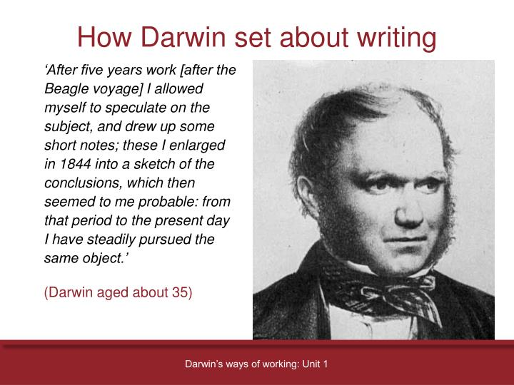 How Darwin set about writing