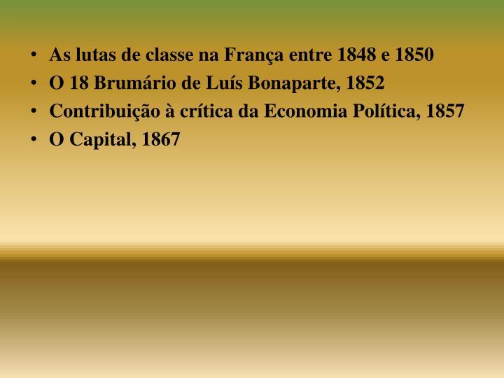 As lutas de classe na França entre 1848 e 1850