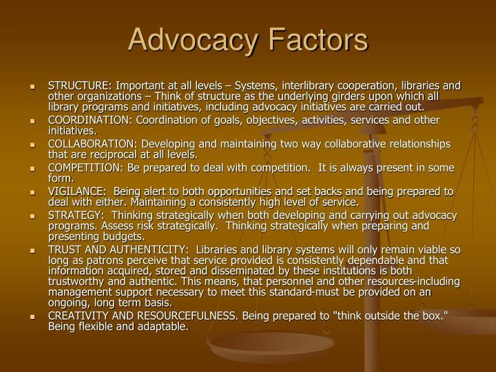 Advocacy Factors