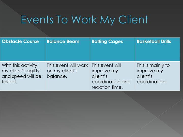 Events To Work My Client