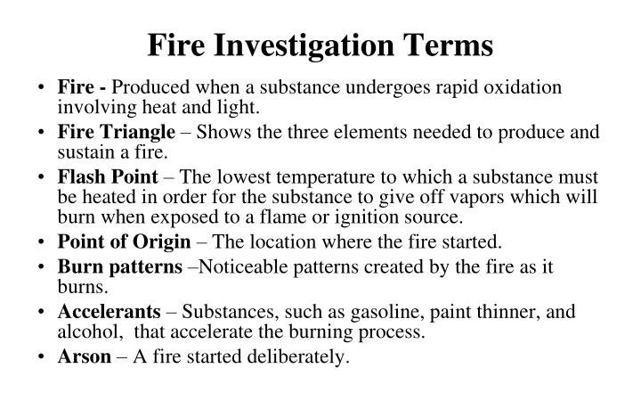 Fire investigation terms