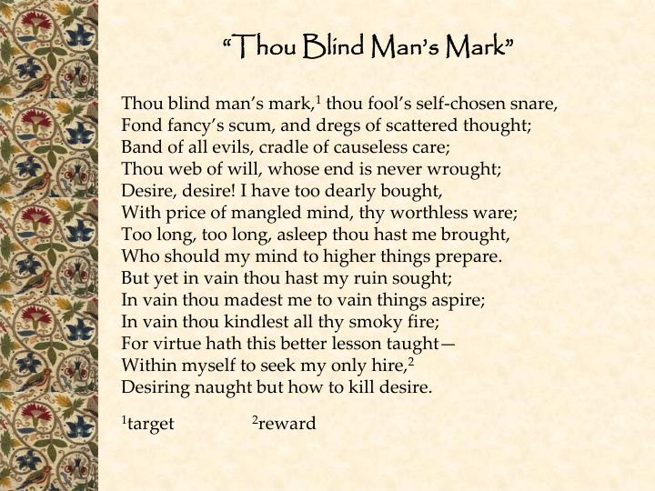 The theme of desire in thou blind mans mark by sir philip sidney