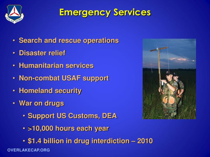 civil air patrol emergency services powerpoint Civil air patrol cap pamphlet 214 (e) civil defense as a net control station or participating in an emergency services operation or shares operation.