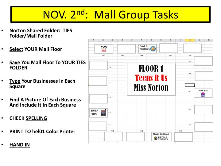 Nov 2 nd mall group tasks