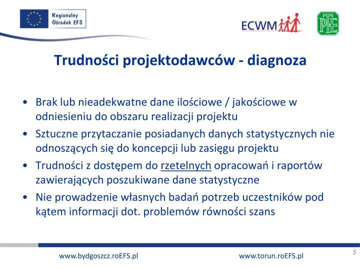 Trudności projektodawców - diagnoza