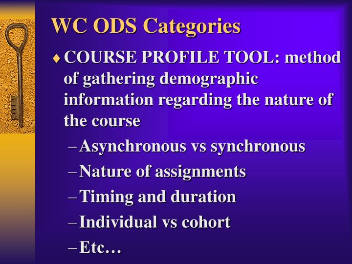 WC ODS Categories