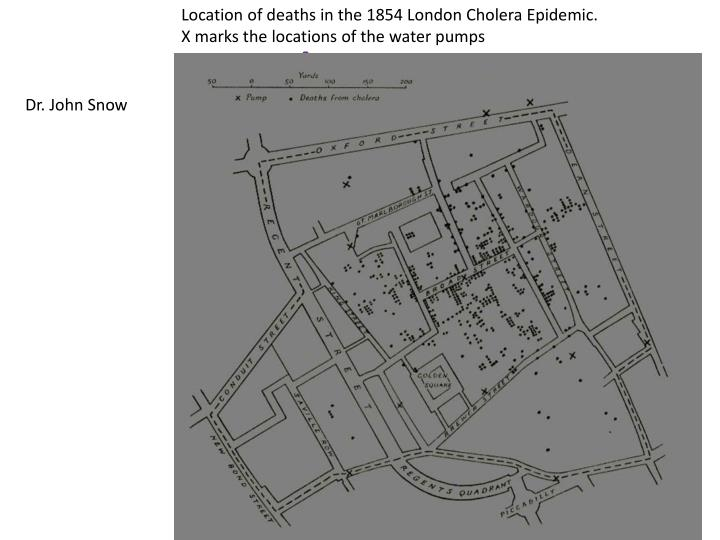 Location of deaths in the 1854 London Cholera Epidemic.