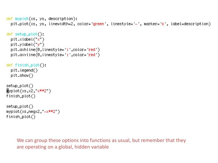 We can group these options into functions as usual, but remember that they are operating on a global, hidden variable