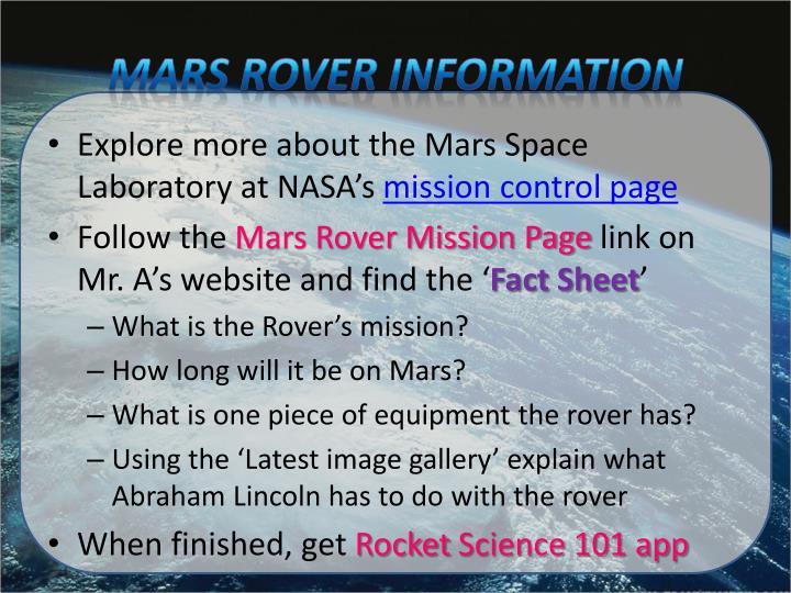 Mars Rover Information