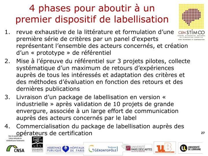 4 phases pour aboutir à un premier dispositif de labellisation