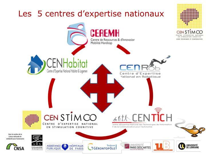 Les  5 centres d'expertise nationaux