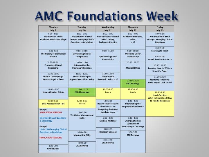 AMC Foundations Week