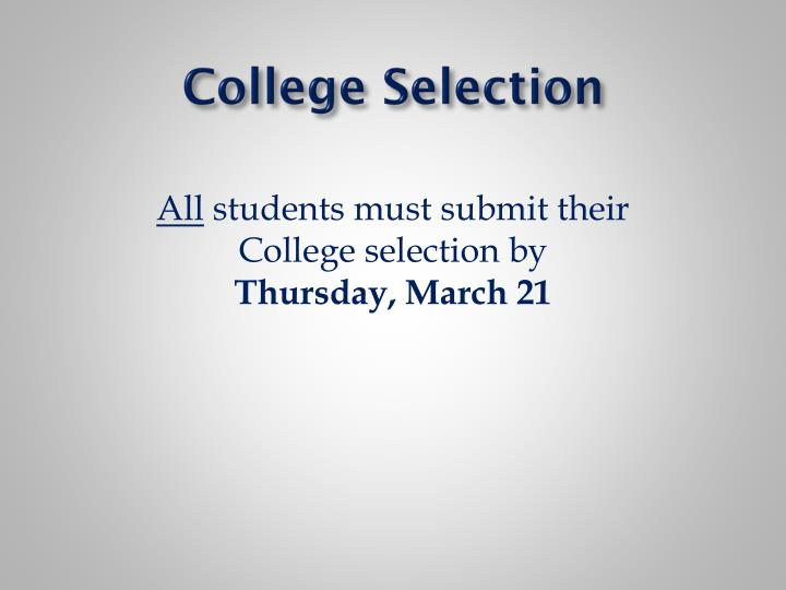 College Selection