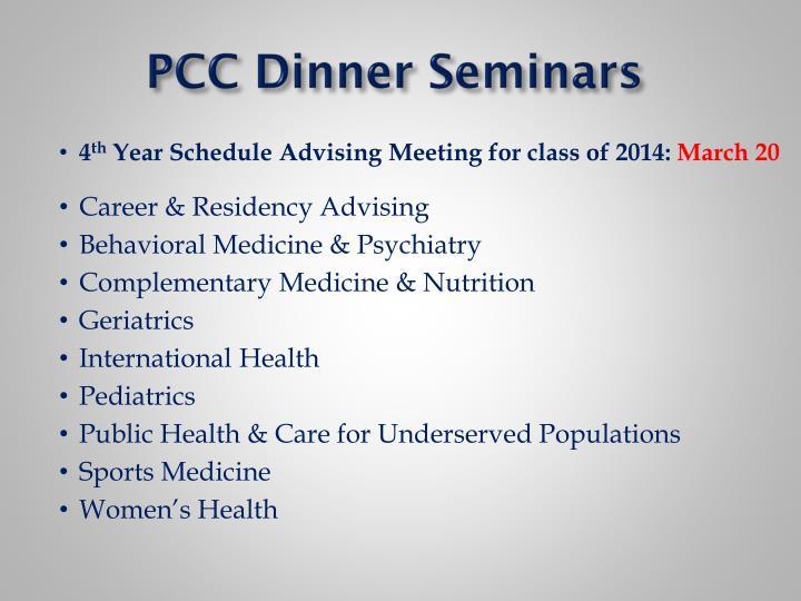 PCC Dinner Seminars