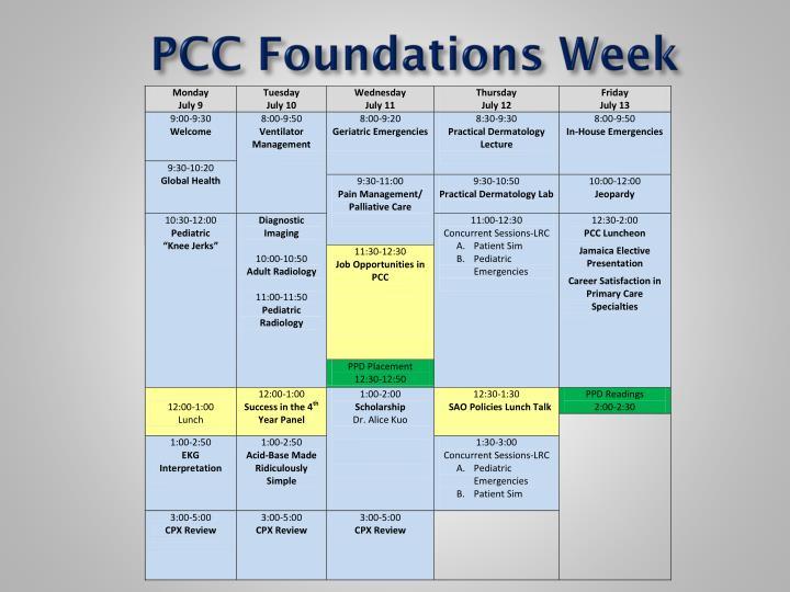 PCC Foundations Week