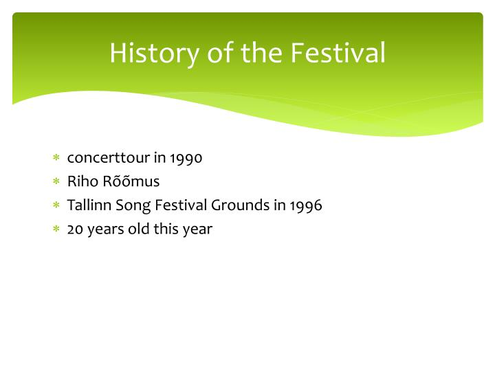 History of the Festival