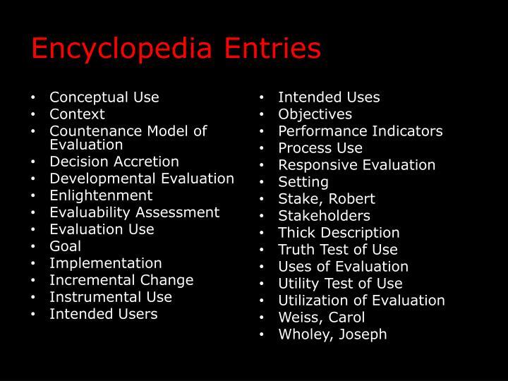 Encyclopedia Entries