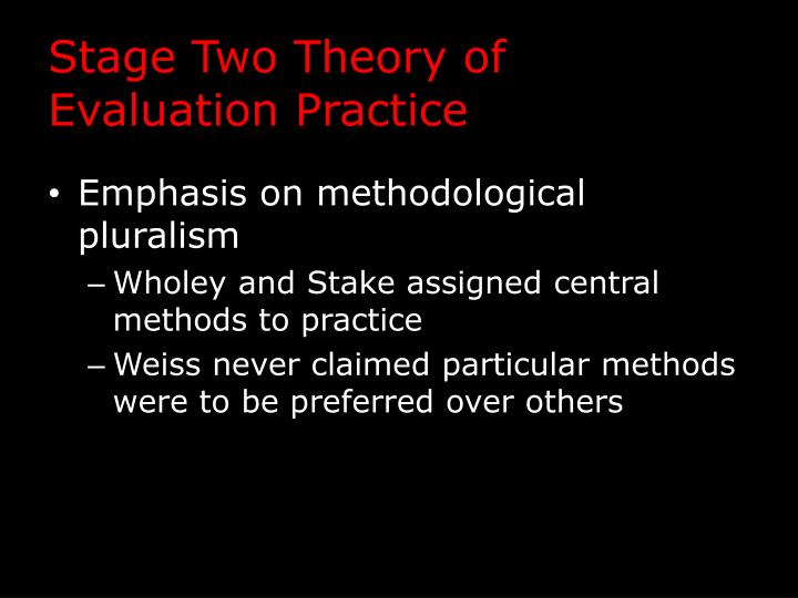 Stage Two Theory of Evaluation Practice