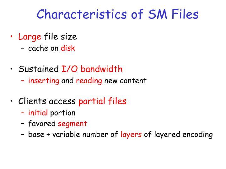 Characteristics of SM Files