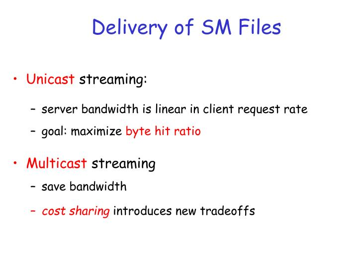Delivery of SM Files
