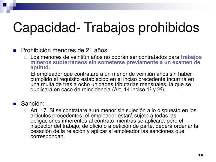 Capacidad- Trabajos prohibidos