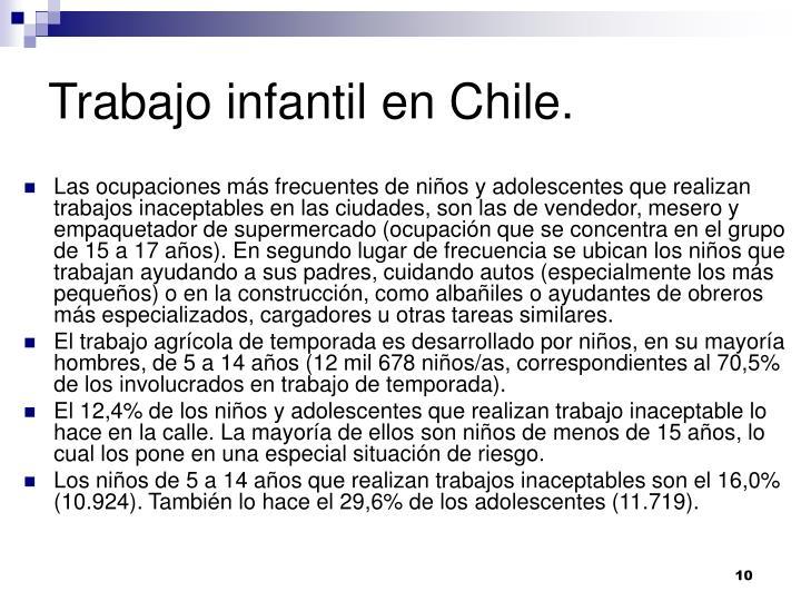 Trabajo infantil en Chile.