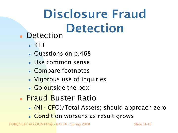 Disclosure Fraud Detection