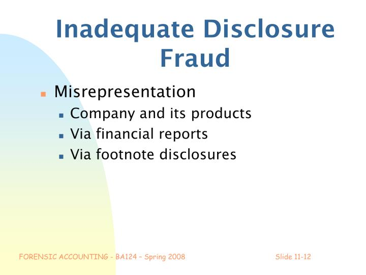 Inadequate Disclosure Fraud