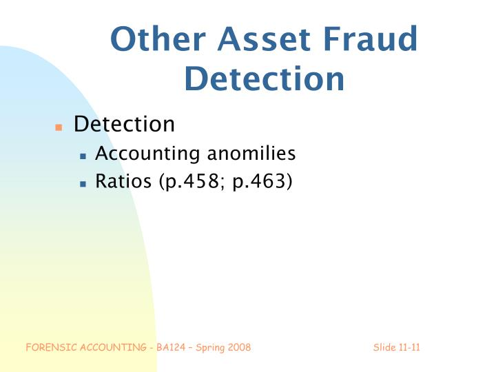 Other Asset Fraud Detection