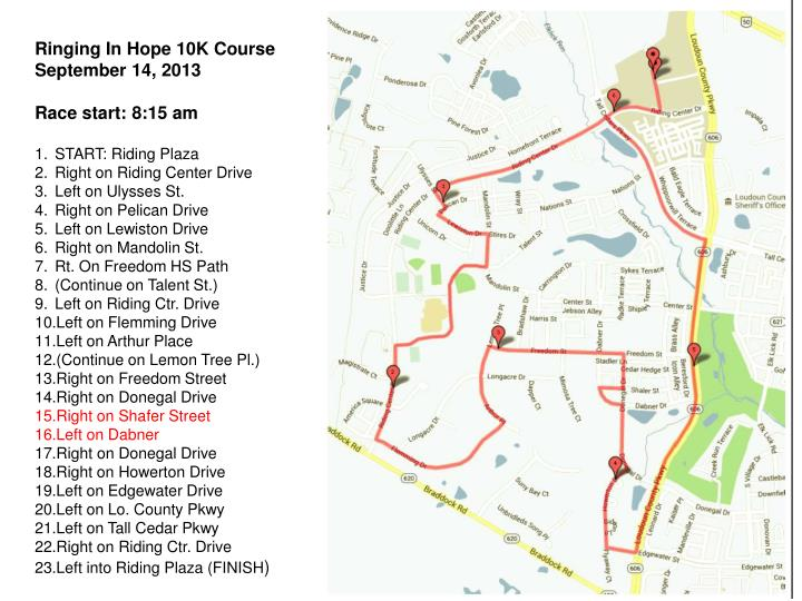 Ringing In Hope 10K Course