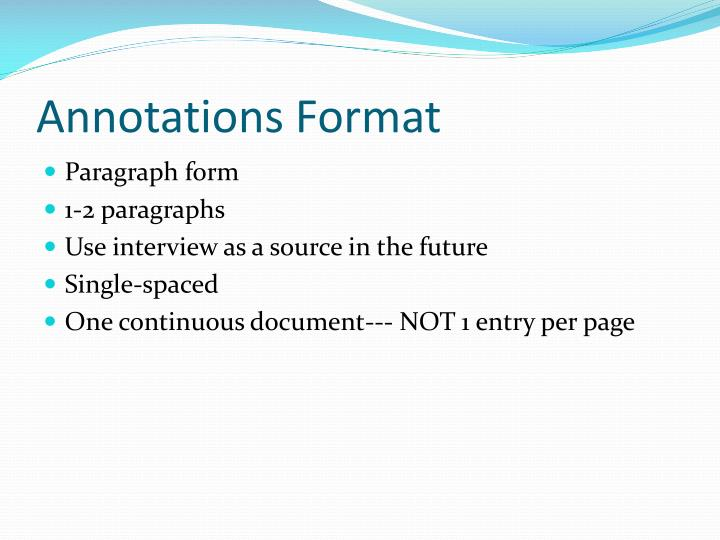 Annotations Format