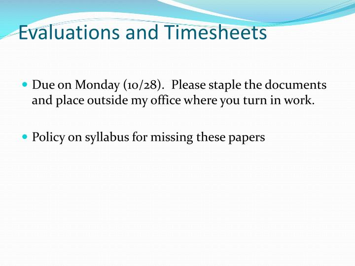 Evaluations and Timesheets
