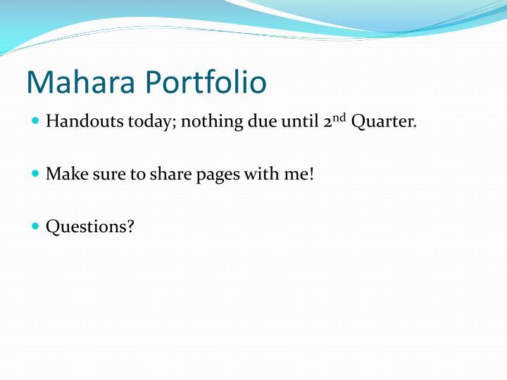 Mahara Portfolio