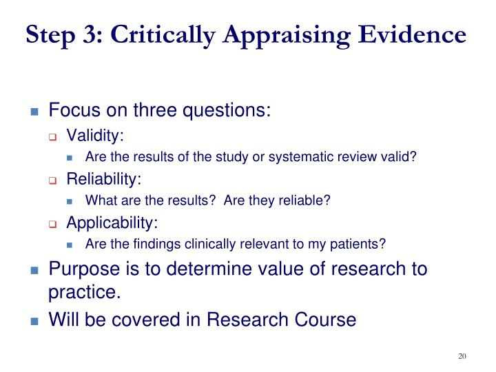 by critically appraising relevant evidence discuss Provide the ideal answers to clinical questions using a structured search, critical appraisal, authoritative recommendations, clinical perspective, and rigorous peer review clinical inquiries deliver best evidence for point-of-care use.