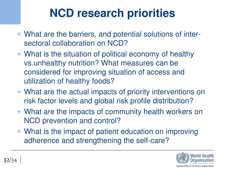 NCD research priorities