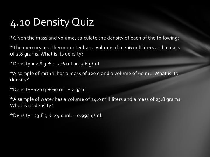 4.10 Density Quiz