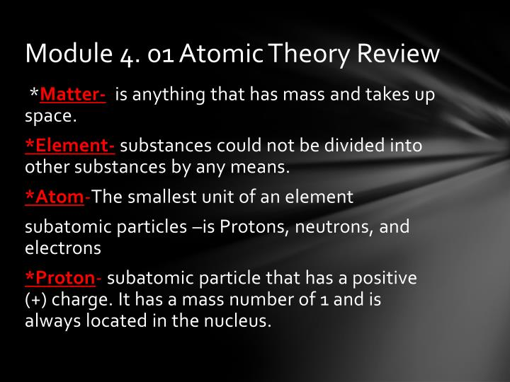 Module 4. 01 Atomic Theory Review