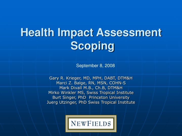 Health impact assessment scoping
