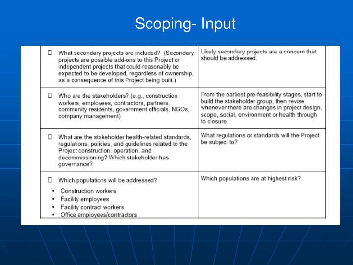 Scoping- Input