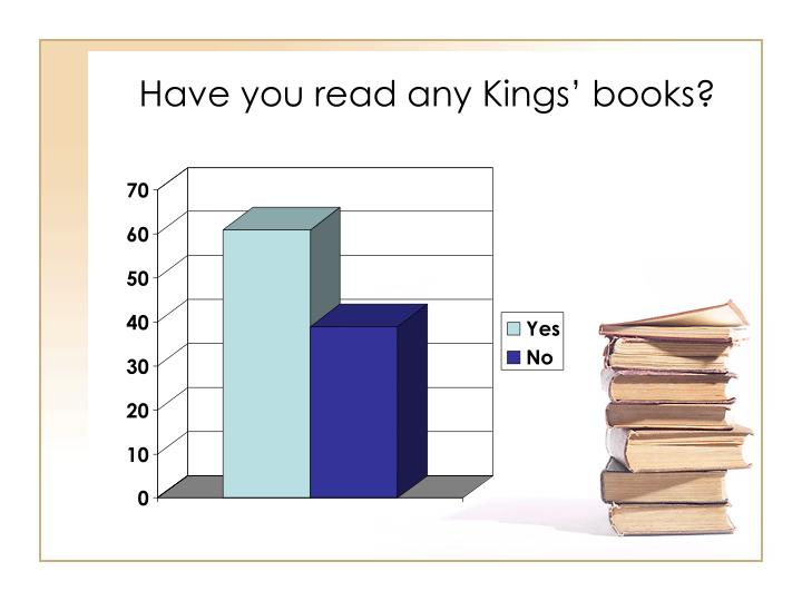 Have you read any Kings' books?