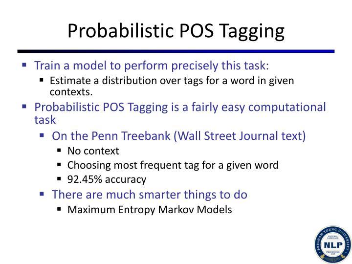 Probabilistic POS Tagging