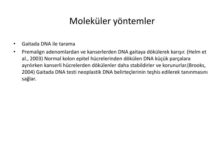 Moleküler yöntemler