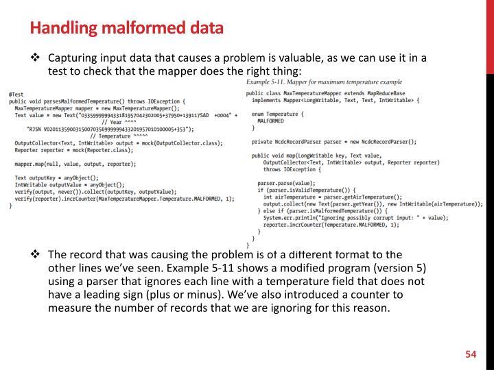 Handling malformed data