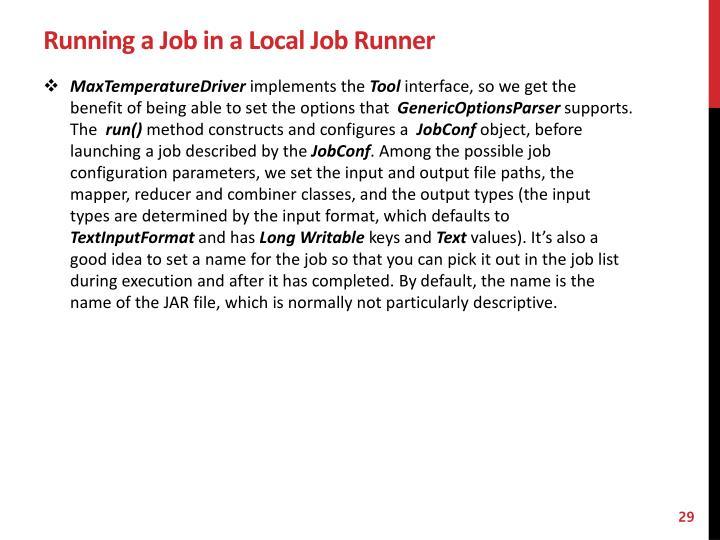 Running a Job in a Local Job Runner