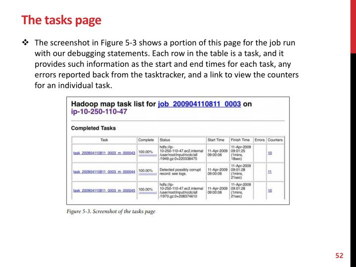 The tasks page