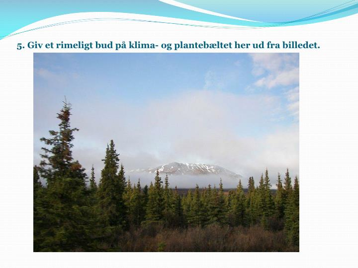 5. Giv et rimeligt bud på klima- og plantebæltet her ud fra billedet.
