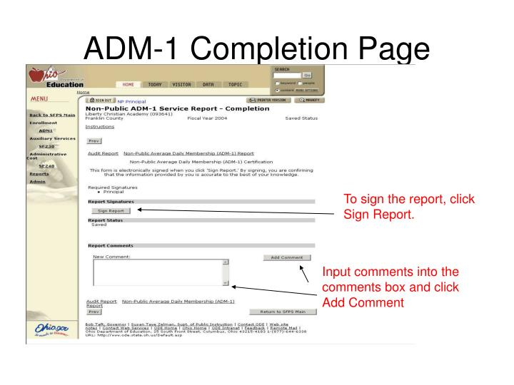 ADM-1 Completion Page